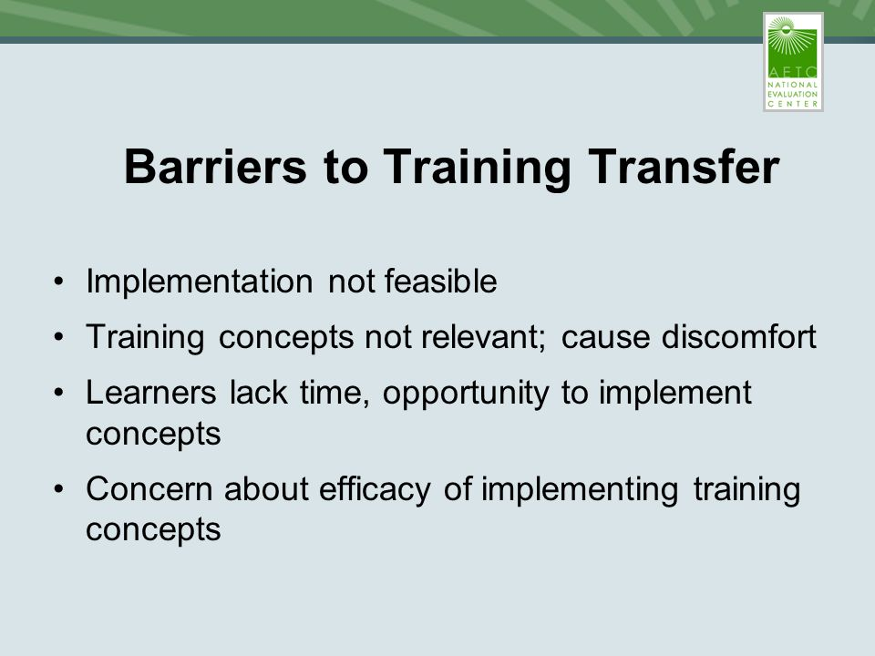 What Happens After the Training? Barriers and Facilitators