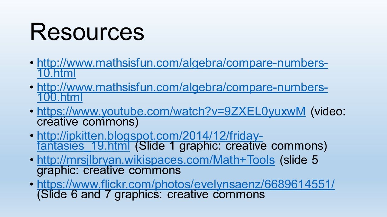 Comparing Numbers Using, and =. Comparing Numbers It is good to know ...