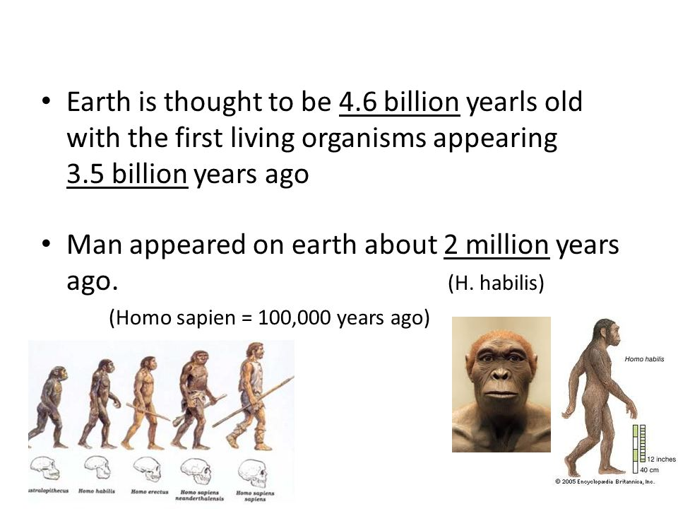 Earth is thought to be 4.6 billion yearls old with the first living organisms appearing 3.5 billion years ago Man appeared on earth about 2 million years ago.