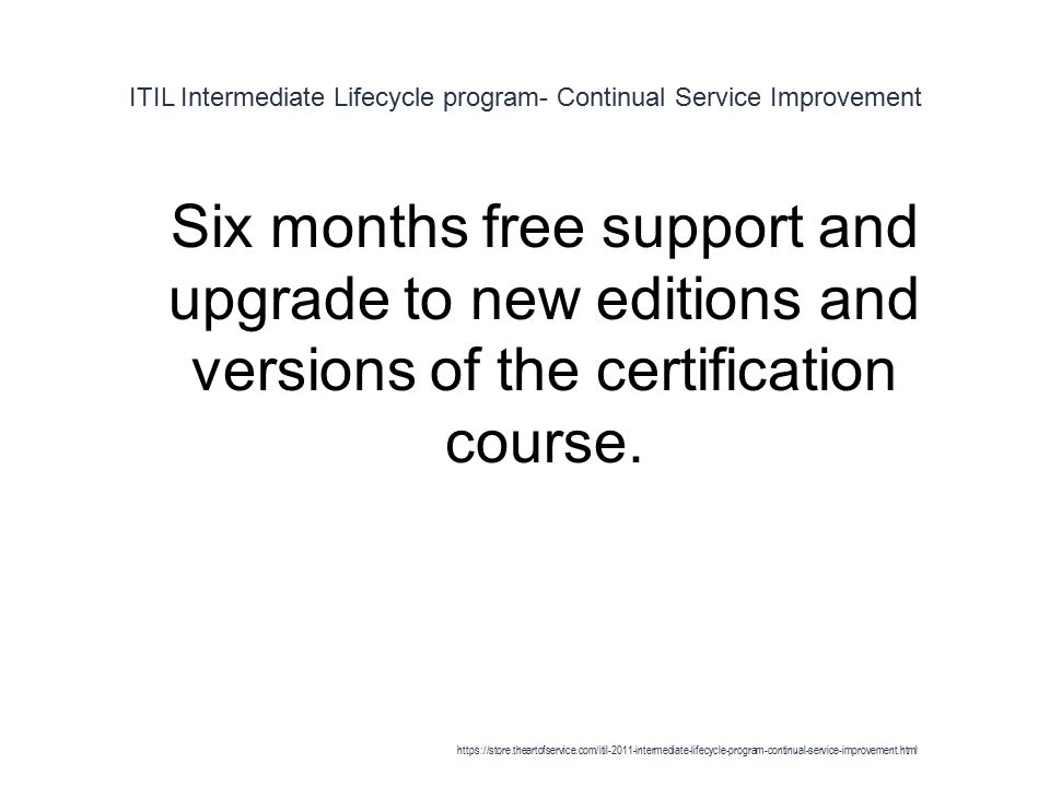 Itil Intermediate Lifecycle Program Continual Service Improvement 1