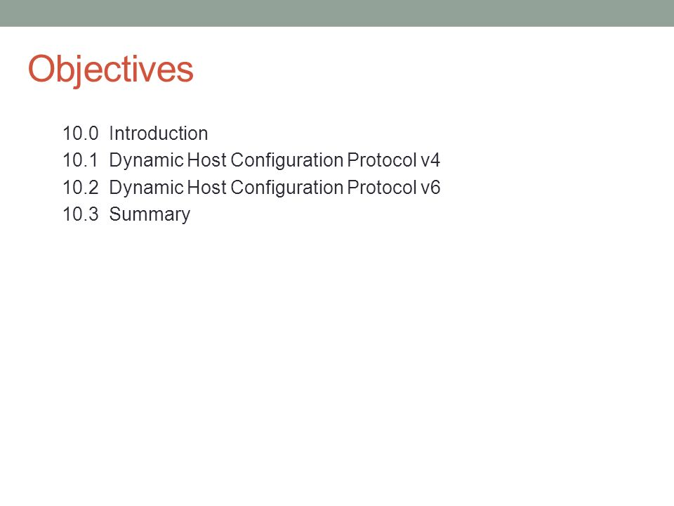 Objectives 10.0 Introduction 10.1 Dynamic Host Configuration Protocol v4 10.2 Dynamic Host Configuration Protocol v6 10.3 Summary