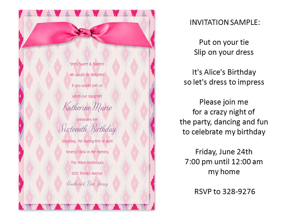 Party Time INVITATION SAMPLE Put On Your Tie Slip Dress