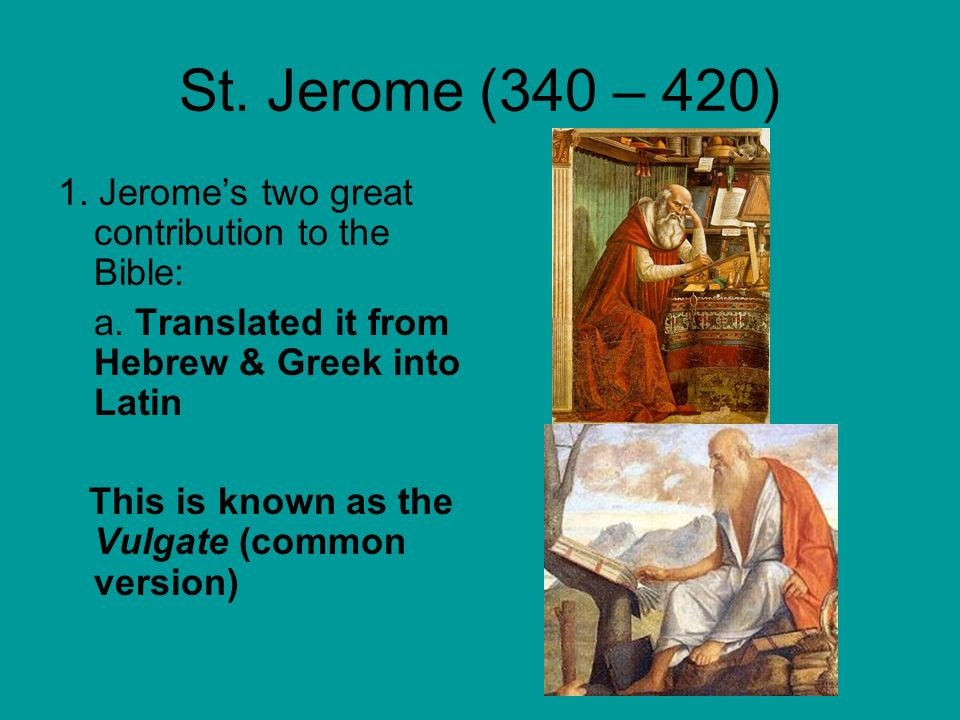 The Shaping of Western Christian Thought  St  Jerome (340