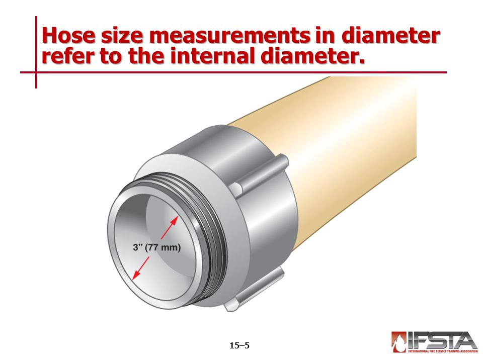 6 Hose size measurements in diameter refer to the internal diameter. 15u20135  sc 1 st  SlidePlayer & Essentials of Fire Fighting 6 th Edition Firefighter I Chapter 15 ...