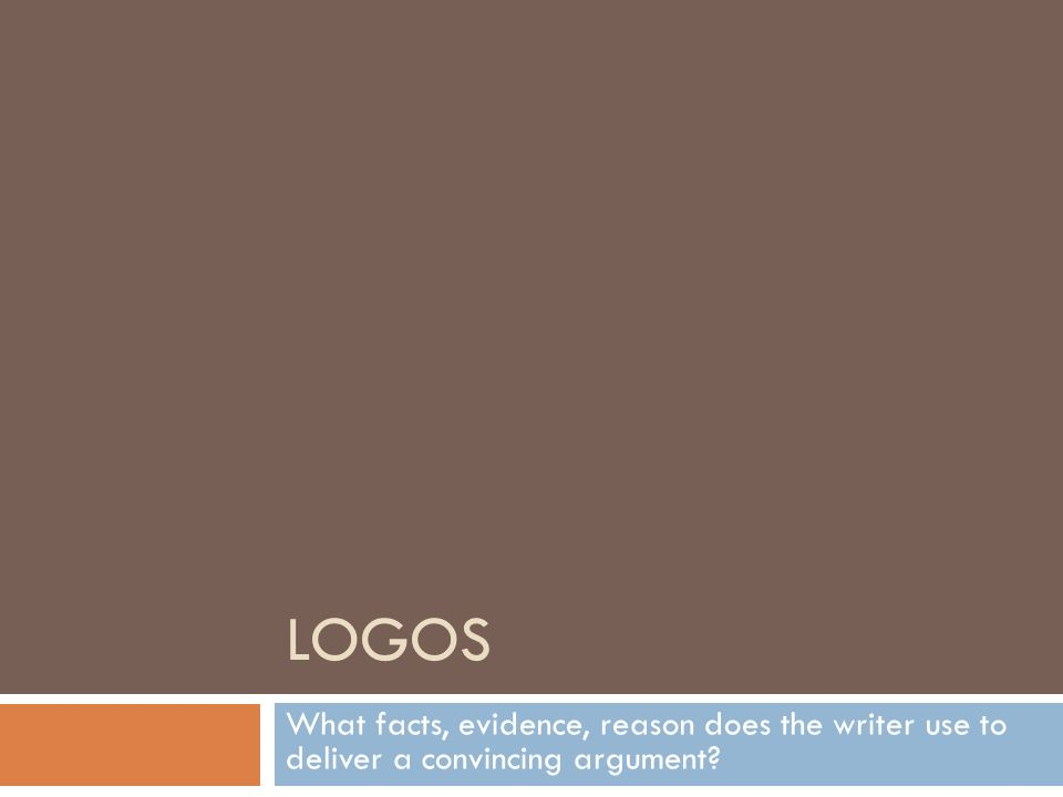 where does the writer use logos