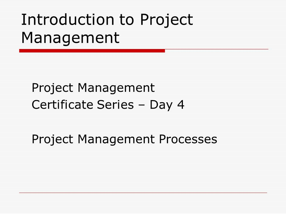 Introduction To Project Management Project Management Certificate
