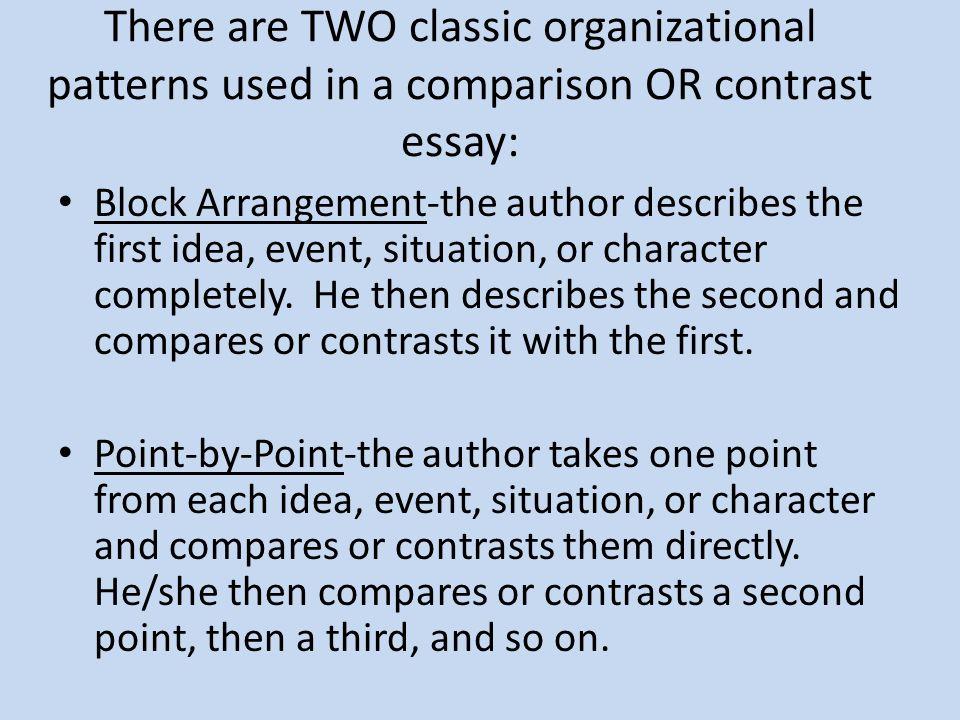 block organization compare and contrast essay