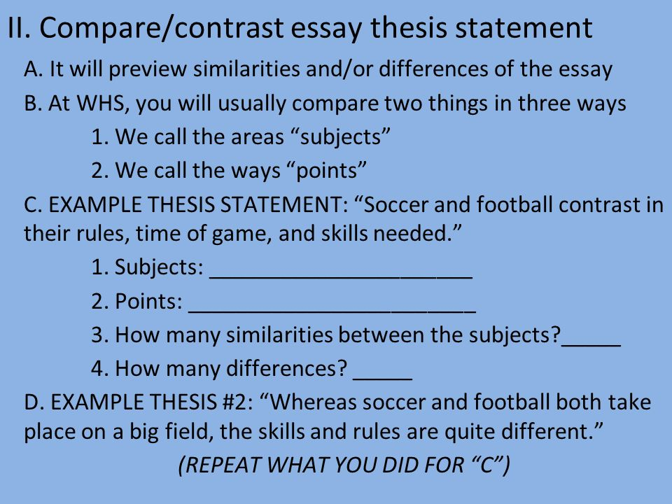 comparecontrast essay thesis statement a
