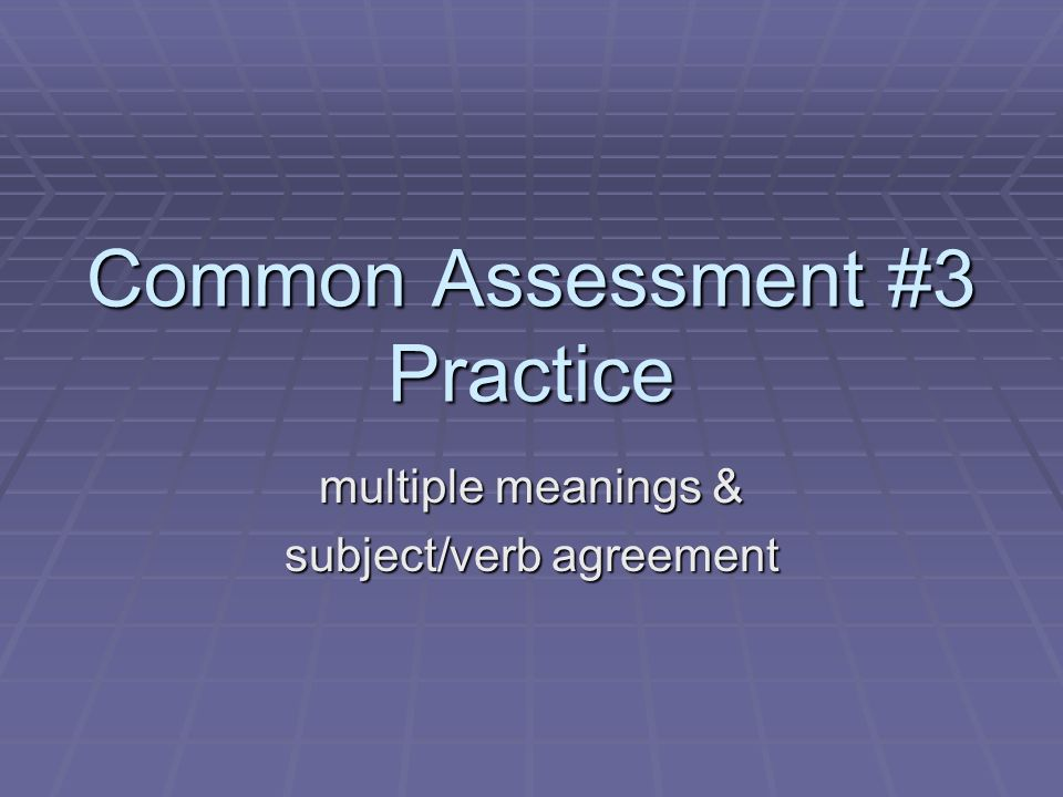 Common Assessment 3 Practice Multiple Meanings Subjectverb