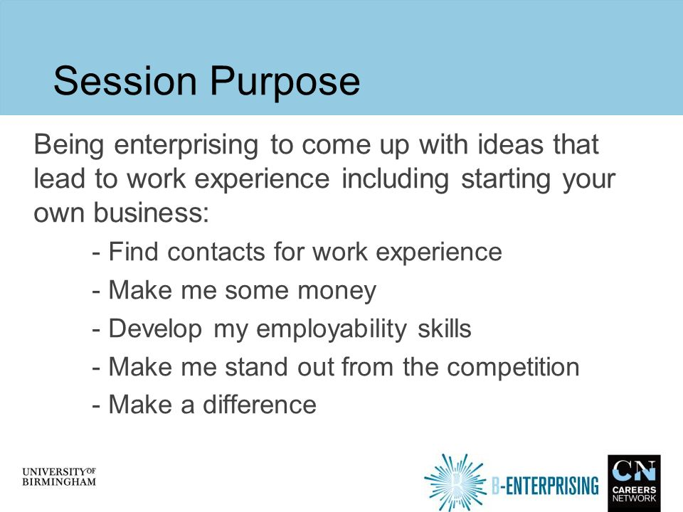 create your own work experience be enterprising presentation by