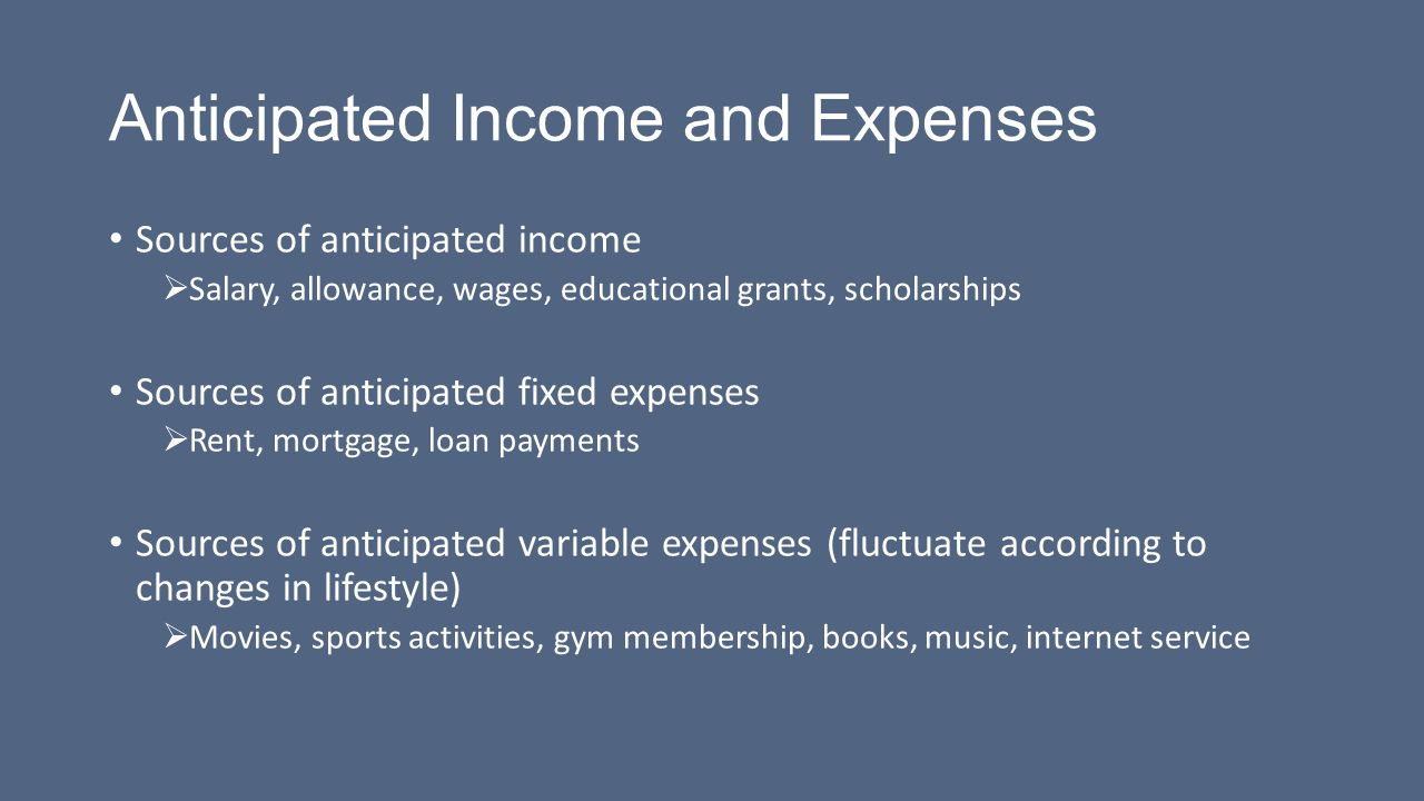 competency 101 identify anticipated and unanticipated income and