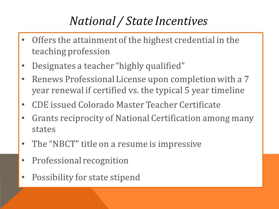 District 11 National Board Certification Informational Meeting