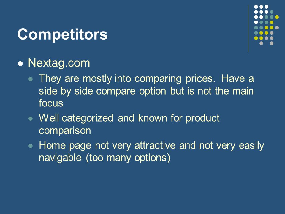 Comparifier a startup by team IT  Objectives Primary