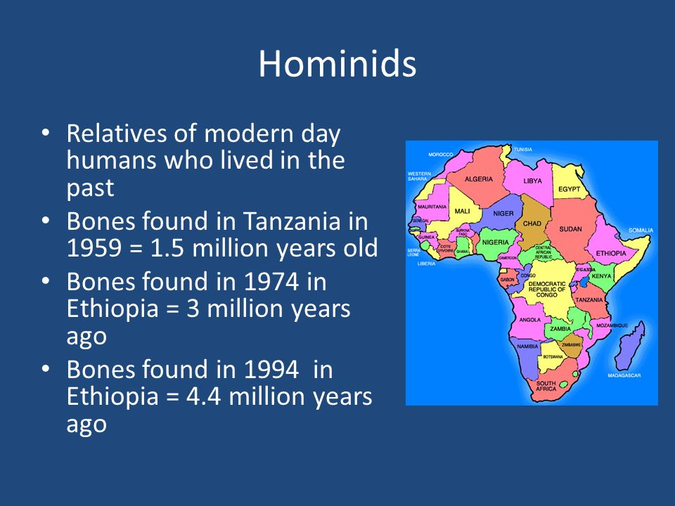 Hominids Relatives of modern day humans who lived in the past Bones found in Tanzania in 1959 = 1.5 million years old Bones found in 1974 in Ethiopia = 3 million years ago Bones found in 1994 in Ethiopia = 4.4 million years ago