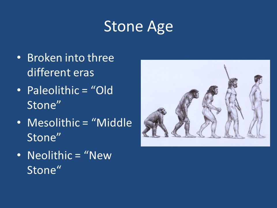 Stone Age Broken into three different eras Paleolithic = Old Stone Mesolithic = Middle Stone Neolithic = New Stone