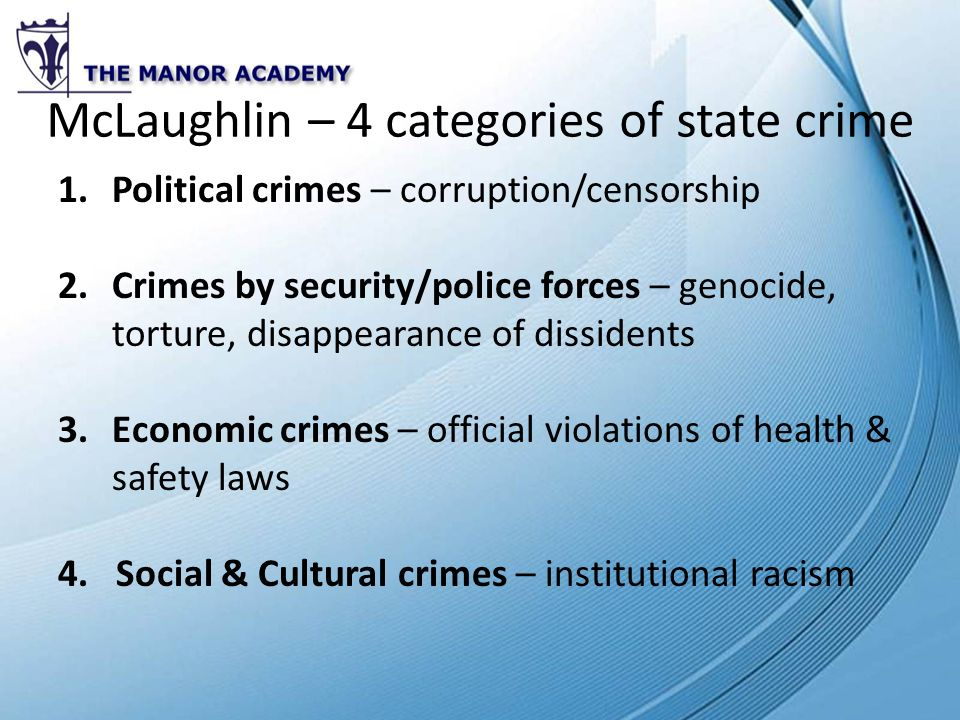 State crimes and green crimes.