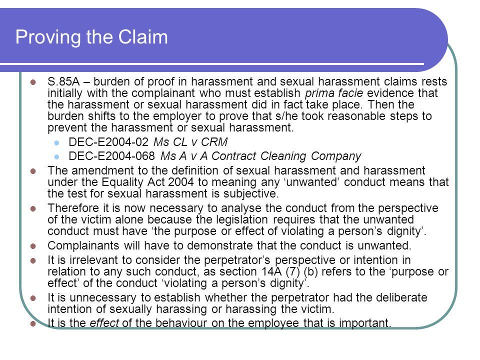Prima facie sexual harassment definition