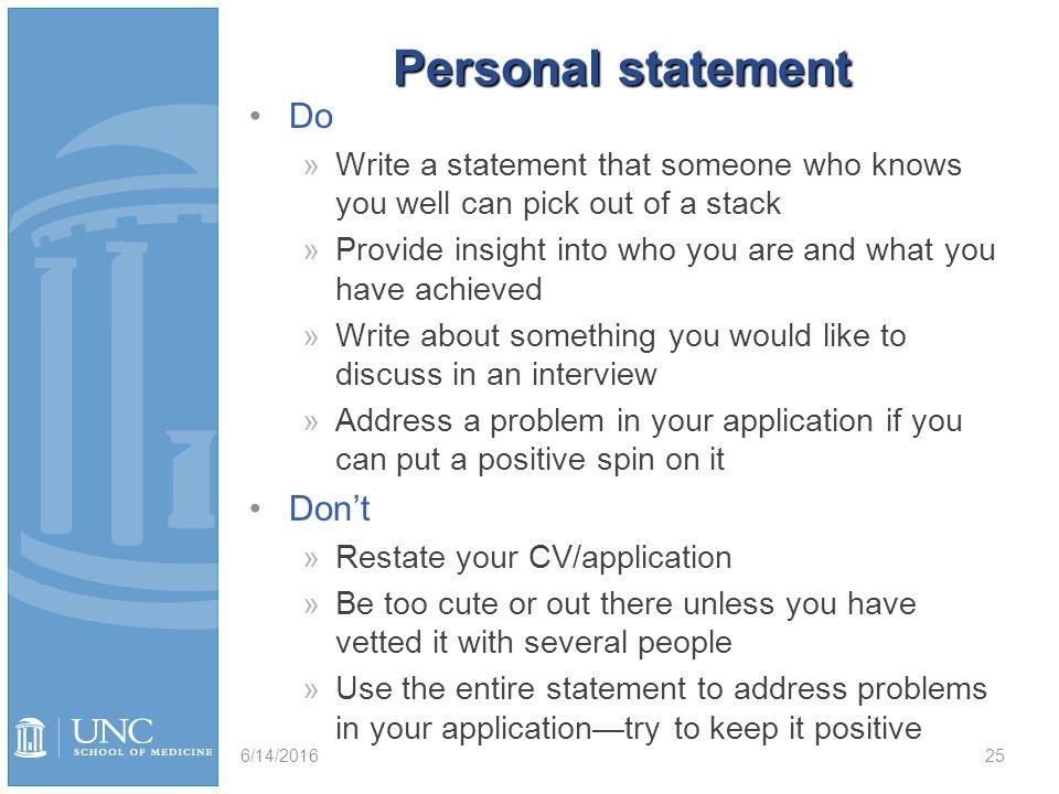 personal statement vsas