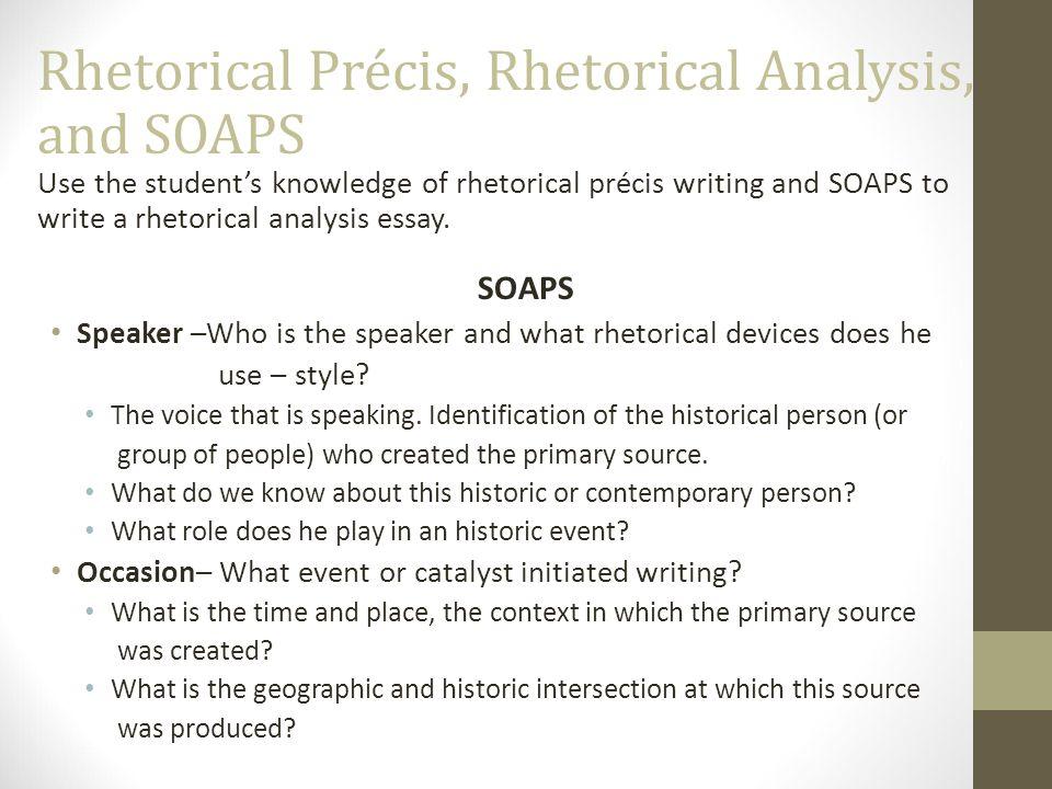 how do you write a rhetorical precis