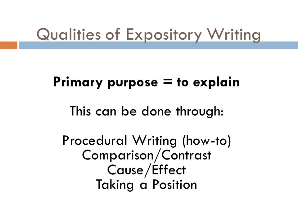 what are the characteristics of expository writing