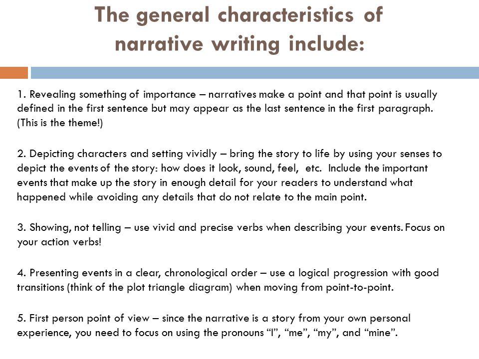 characteristics of narrative writing for kids