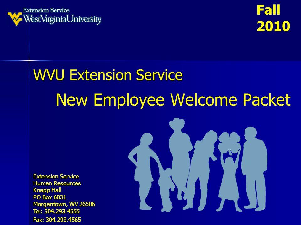 WVU Service WVU Extension Service New Employee Welcome