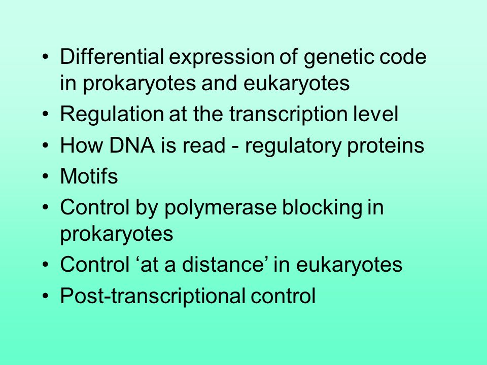 Gene regulation biology 1 lecture 13  Differential