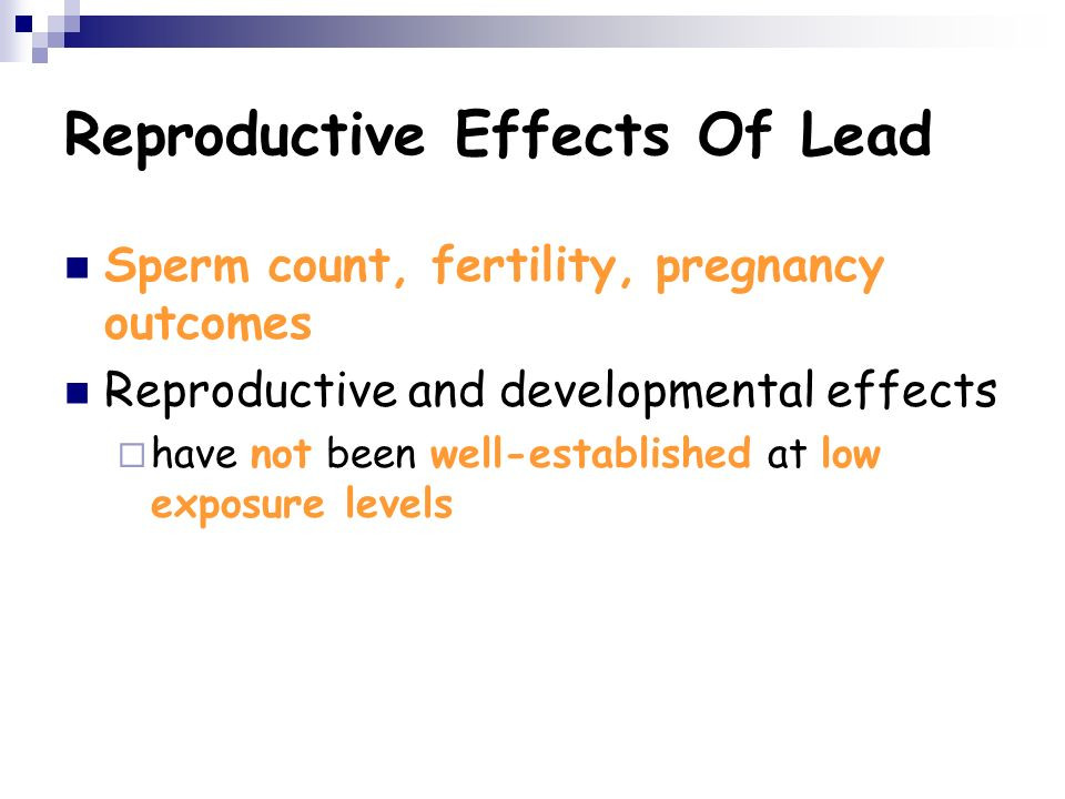 Absolutely effects of mercury and lead on sperm for