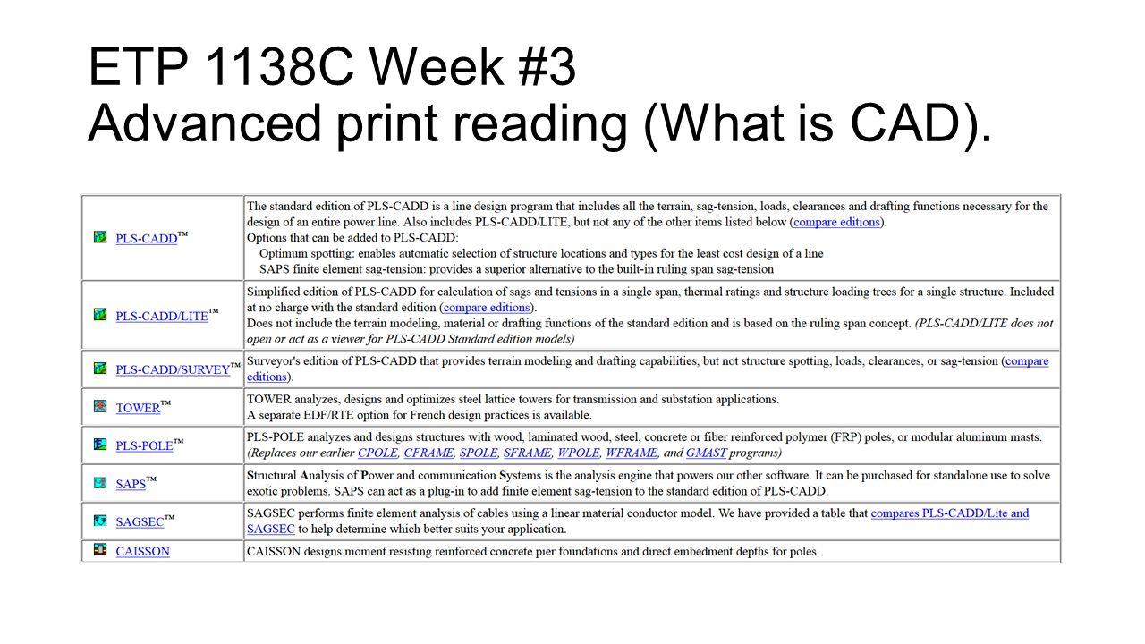 ETP 1138C Week #3 Advanced print reading basics (Print creation