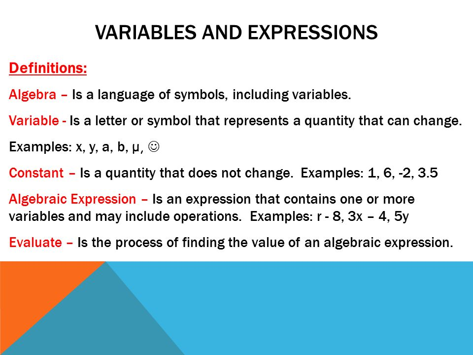 Variables And Expressions Definitions Algebra Is A Language Of