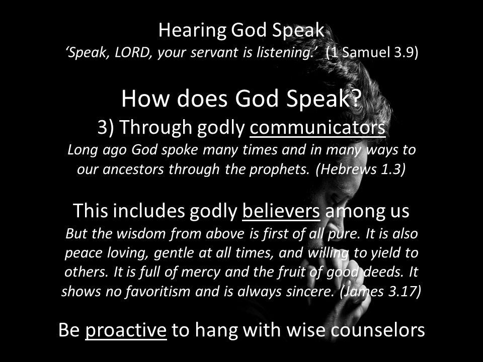 Hearing God Speak 'Speak, LORD, your servant is listening