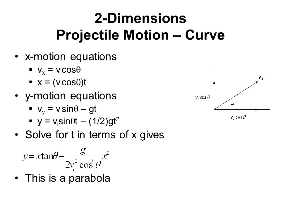 two dimensional projectile motion