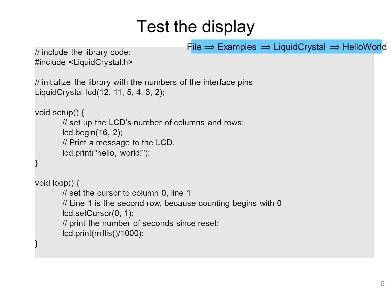 Arduino Programming Part 6: LCD Panel Output ME 121 Portland State