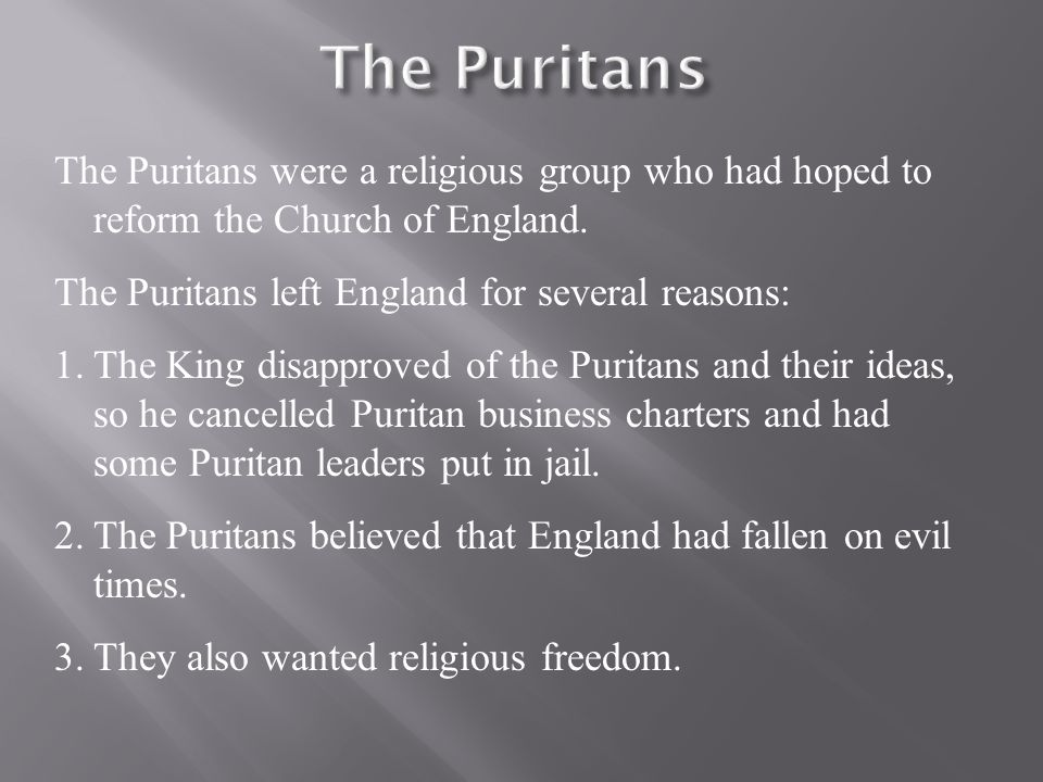 why did the puritans leave england