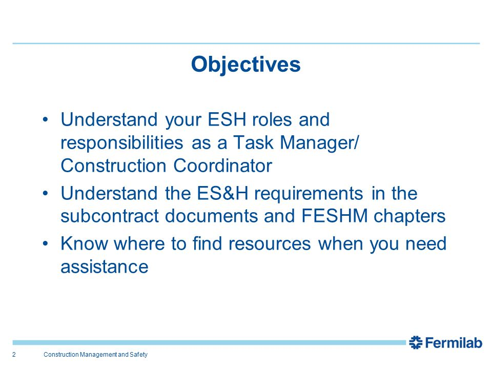 2 objectives construction