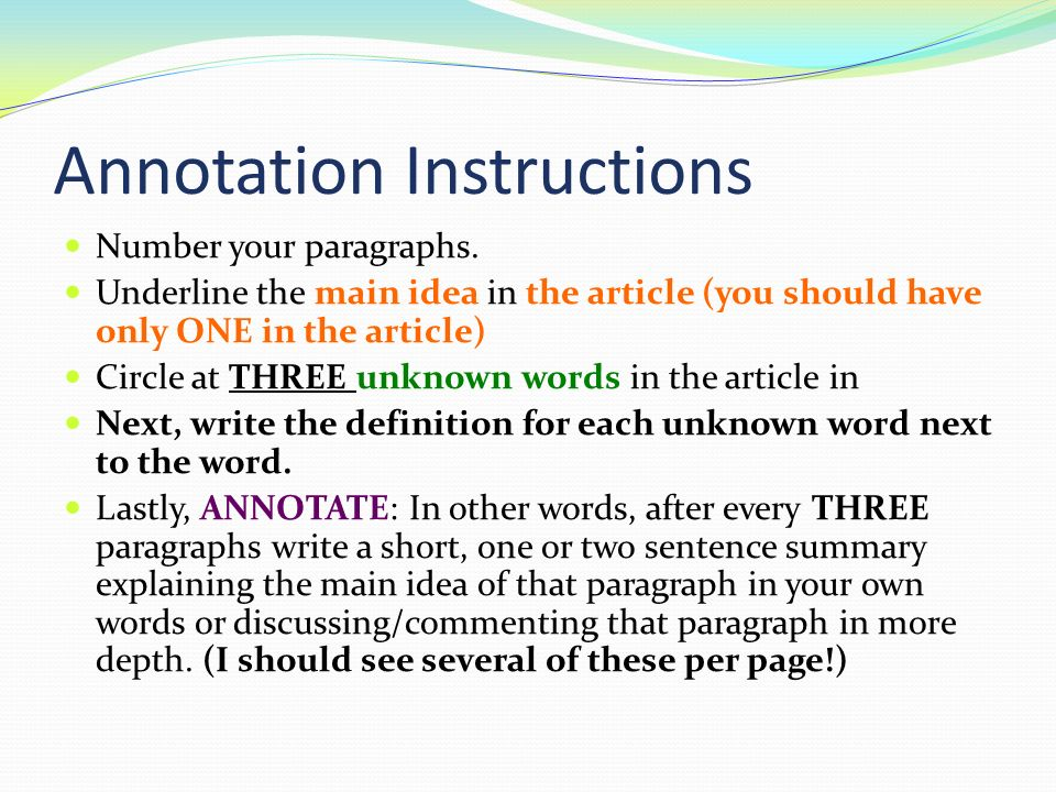 how to write an annotation for an article