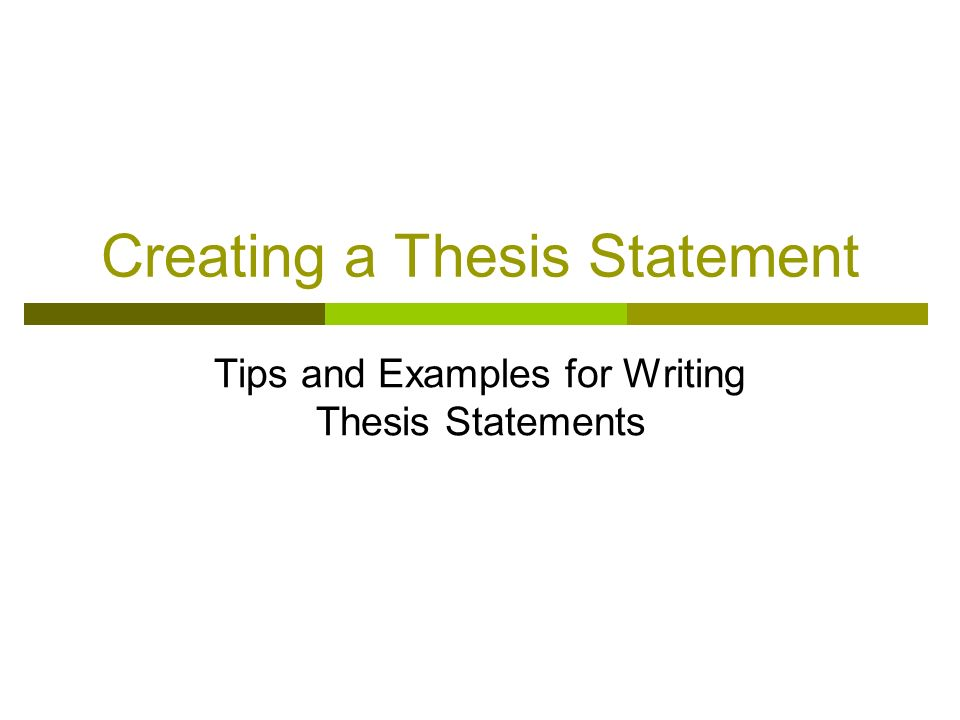 create an outline for this thesis statement A thesis statement outline makes no sense: it is a single sentence in 90% cases move directly to the example section for many students, the best way to learn is to see some realistic examples.