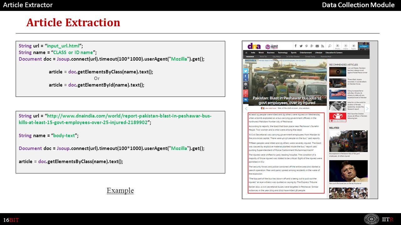 16BIT IITR Data Collection Module A web crawler (also known