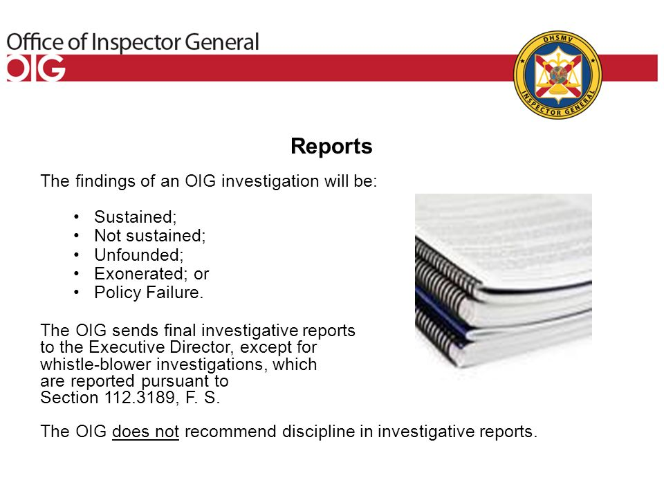 Investigations Section  Authorized in Section , Florida