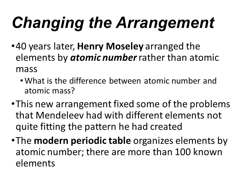 The Periodic Table Chapter 51 Notes Organizing The Elements Dmitri