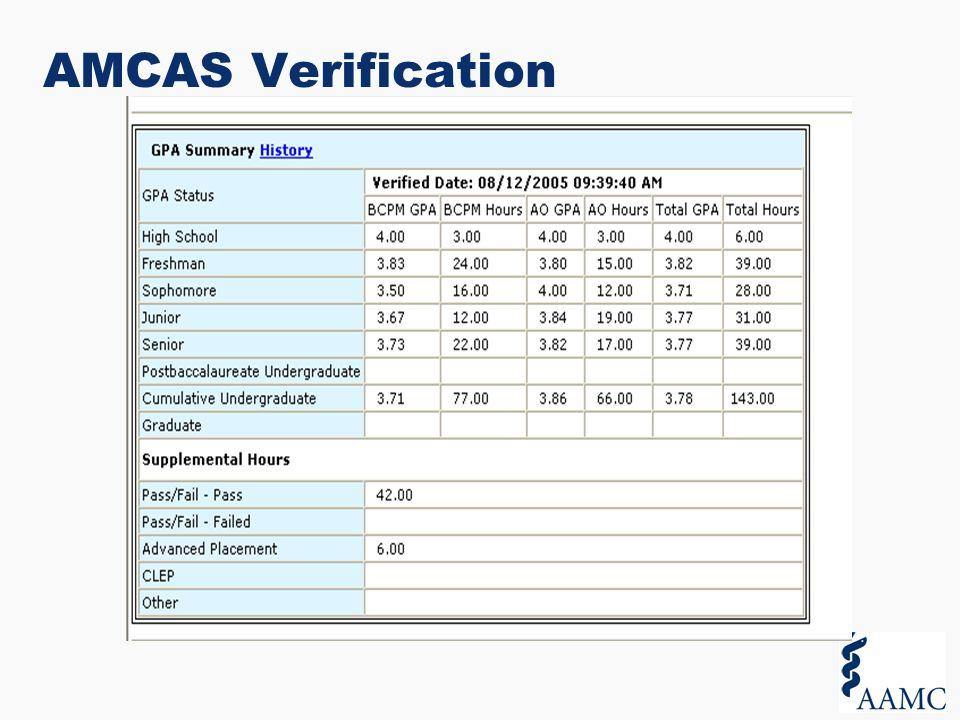amcas coursework errors
