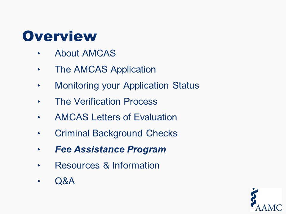 The Amcas Application Process For Applicants Overview Ppt Download
