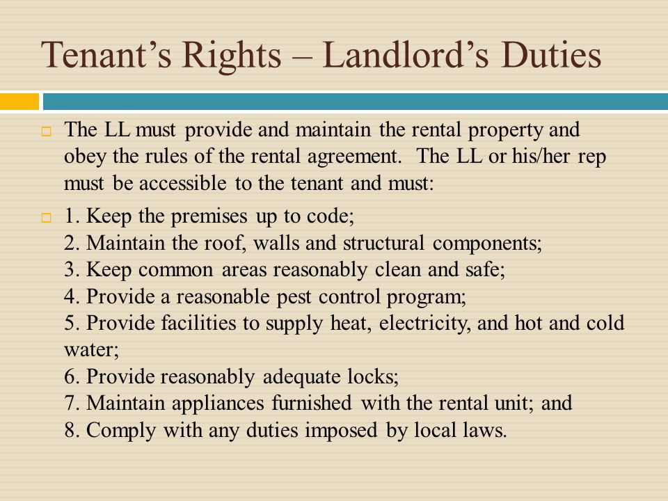 Tenants Rights Duties Generally Implied Covenant Of Habitability