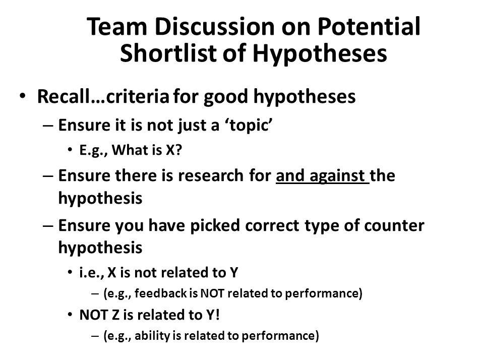 criteria of good hypothesis