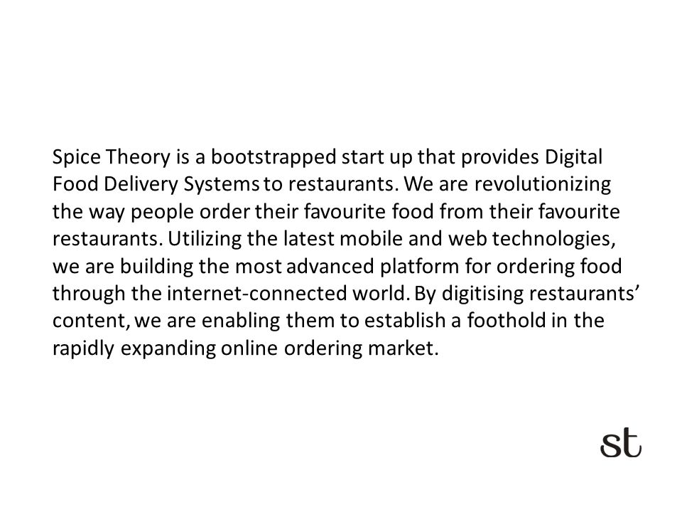 Online Ordering System for Restaurants  Spice Theory is a