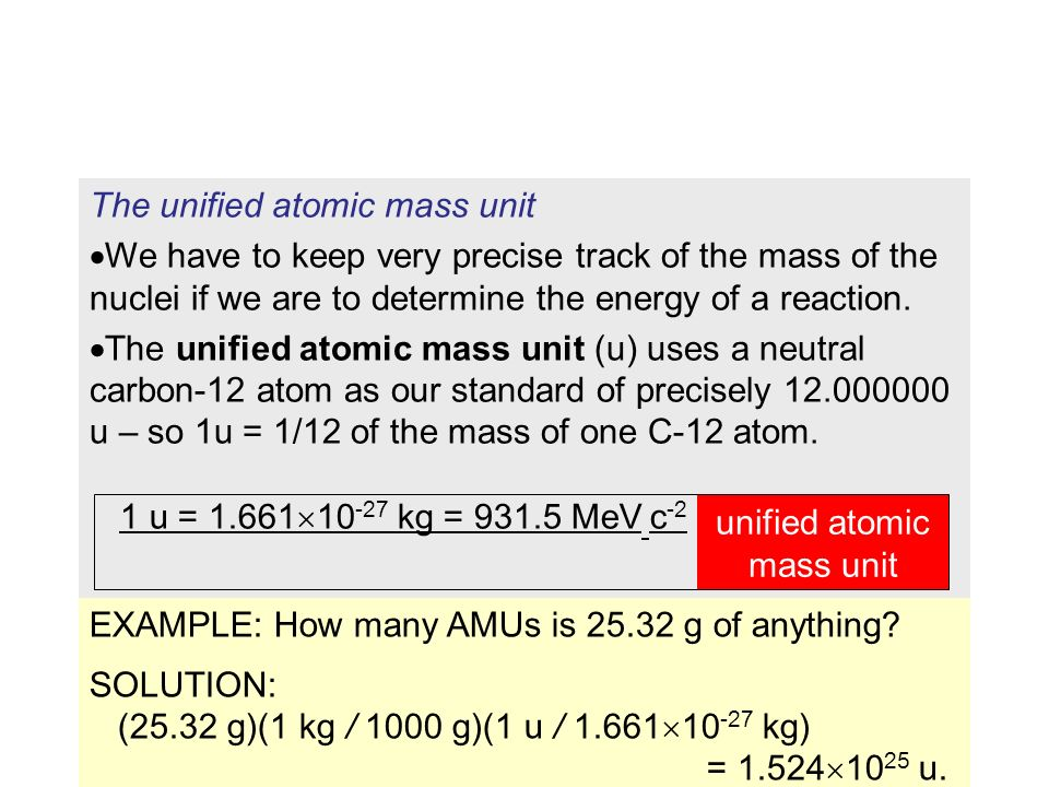 Understandings: The unified atomic mass unit Mass defect and