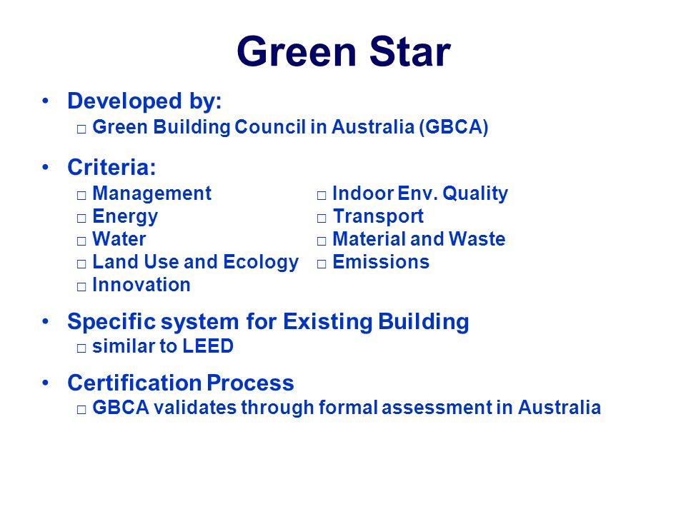 Green Building Certification Systems For Existing Buildings John