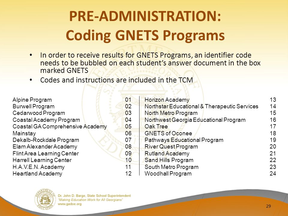 PRE-ADMINISTRATION: Coding GNETS Programs In order to receive results for GNETS Programs, an identifier code needs to be bubbled on each student's answer document in the box marked GNETS Codes and instructions are included in the TCM Alpine Program01 Burwell Program02 Cedarwood Program 03 Coastal Academy Program04 Coastal GA Comprehensive Academy05 Mainstay06 Dekalb-Rockdale Program07 Elam Alexander Academy08 Flint Area Learning Center09 Harrell Learning Center10 H.A.V.E.N.