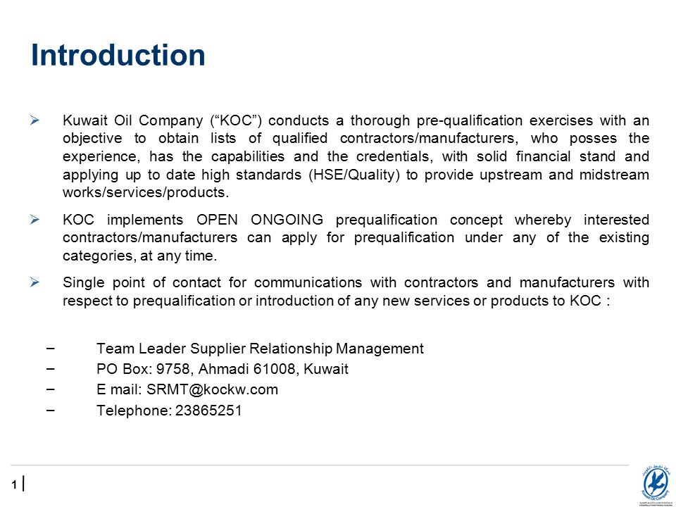 Kuwait Oil Company Commercial Support Group Supplier