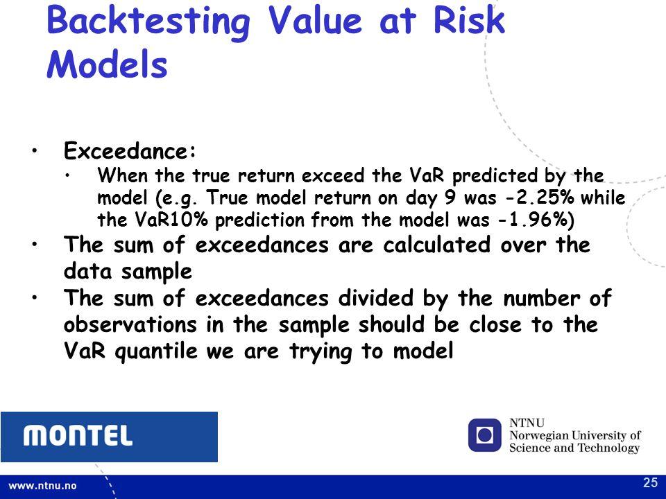 backtesting var models Var models following p jorion, value at risk, mcgraw-hill, chapter 6 and the basle market risk charge, frm chapter 32 daniel herlemont backtesting verification of risk management models.